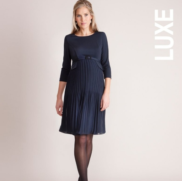 Seraphine pleated maternity Navy Luxe dress. M 5af5c009077b976a33e71c40 cb3904a5d
